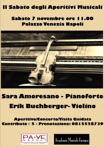 """Nuovo appuntamento de """"Il Sabato degli Aperitivi Musicali"""", sabato 6 novembre 2015 a Palazzo Venezia Napoli"""