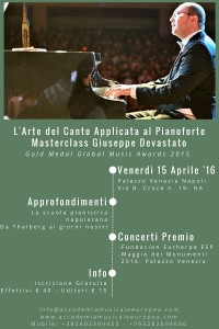 L'Arte del Canto Applicata al Pianoforte: Masterclass/Incontro con il Pianista Giuseppe Devastato, al Palazzo Venezia Napoli