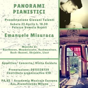 """""""Panorami Pianistici"""", presentazione giovani talenti del Pianoforte, sabato 23 aprile 2016 al Palazzo Venezia di Napoli"""