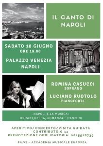 """""""Il Canto di Napoli"""", viaggio nella Musica Napoletana dalle origini al '900, il 18 giugno 2016 a Palazzo Venezia Napoli"""