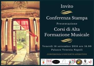 Presentazione dei corsi di Alta Formazione Musicale dell'Accademia Musicale Europea, venerdì 16 settembre 2016 presso Palazzo Venezia Napoli