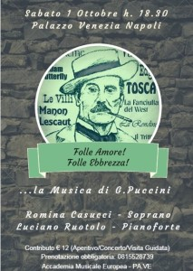 """""""Folle Amore! Folle Ebbrezza!"""", concerto dedicato a Puccini, il 1° ottobre 2016 a Palazzo Venezia Napoli"""
