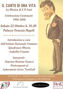 """""""Il Canto di una Vita"""", concerto dedicato a Francesco Paolo Tosti, il 22 ottobre 2016 a Palazzo Venezia Napoli"""