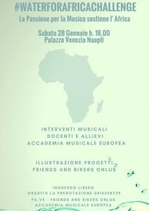 #WaterForAfricaChallenge, serata musicale di sensibilizzazione al Palazzo Venezia di Napoli, sabato 28 gennaio 2017