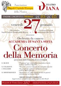 """Venerdì 27 gennaio, alle ore 17:30, al Teatro Diana di Napoli si terrà il """"Concerto della Memoria"""", dedicato alle vittime dell'Olocausto"""