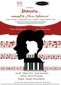 """""""Memorie… momenti di Clara Schumann"""", spettacolo teatrale e musicale, l'8 aprile 2017 a Palazzo Venezia Napoli"""