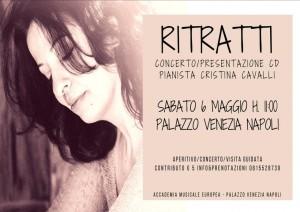"""""""Ritratti"""", concerto della pianista Cristina Cavalli nell'ambito del Maggio dei Monumenti, il 6 maggio 2017 a Palazzo Venezia Napoli"""