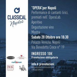"""""""Opera per Napoli"""", appuntamento dedicato alla Lirica presso Palazzo Venezia Napoli, il 28 ottobre 2017 alle ore 18:30"""