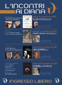 """Al via la quinta edizione di """"L'Incontri al Diana"""", ciclo di appuntamenti con i libri al Teatro Diana di Napoli. Primo appuntamento sabato 4 novembre 2017"""