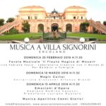 """Con la favola musicale """"Il Flauto Magico di Mozart"""" inizia la rassegna """"Musica a Villa Signorini"""", il 25 febbraio 2018 presso Villa Signorini, Ercolano"""