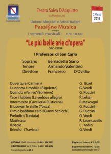 """""""Le più belle arie d'opera"""", per il quarto appuntamento della rassegna """"Passione Musica"""", il 2 marzo 2018 al Teatro Salvo D'acquisto di Napoli"""
