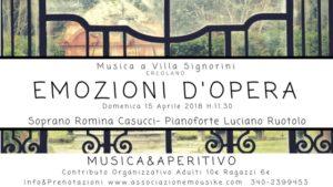 """""""Emozioni d'Opera"""": ultimo incontro della rassegna """"Musica a Villa Signorini"""", il 15 aprile 2018 presso Villa Signorini, Ercolano"""