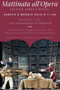 """""""Mattinata all'Opera"""": nuovo appuntamento con la musica lirica al Palazzo Venezia di Napoli, il 5 maggio 2018"""