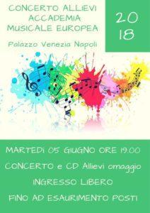 Concerto degli allievi dell'Accademia Musicale Europea, il 5 giugno 2018 presso Palazzo Venezia Napoli