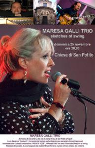 """Maresa Galli Trio in """"Sketches of Swing"""", il 25 novembre 2018 nella Chiesa di San Potito, Napoli"""