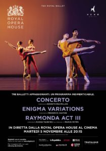 Il Royal Ballet al cinema in diretta via satellite con il programma triplo Concerto / Enigma Variations / Raymonda Act III, il 5 novembre 2019