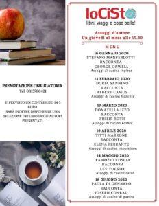 """Primo incontro della rassegna letteraria """"Assaggi d'autore"""", il 16 gennaio 2020 presso la Libreria IoCiSto di Napoli"""