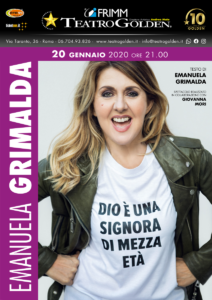 """Emanuela Grimalda in """"Dio è una signora di mezza età"""", il 20 gennaio 2020 al Teatro Golden di Roma"""