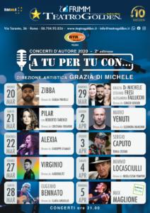"""""""A tu per tu con…"""", rassegna di musica d'autore italiana, dal 20 marzo al 5 aprile 2020 al Teatro Golden di Roma"""